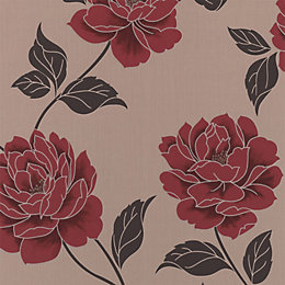 Colours Ella Cream & Red Floral Wallpaper