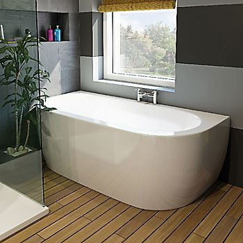 Cooke & Lewis Helena Supercast acrylic Twin ended Curved Supercast bath with panel