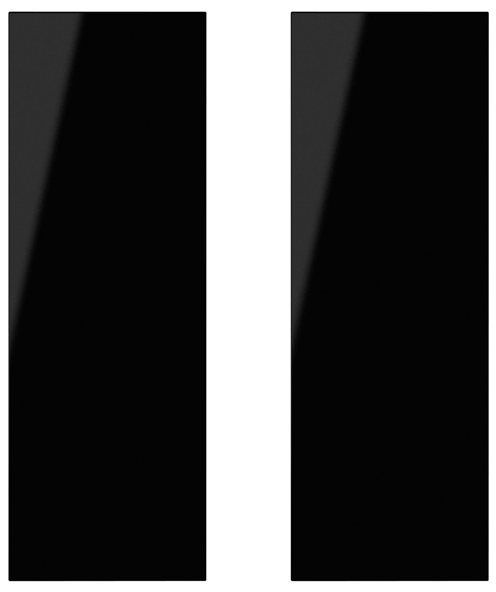 It Kitchens Santini Gloss Black Slab Corner Base Door (w)925mm, Set Of 2