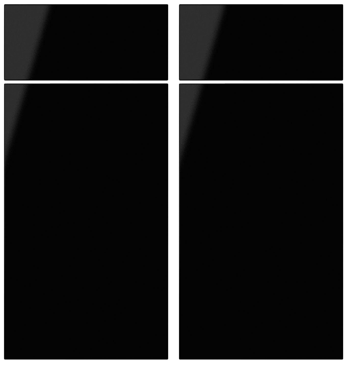 It Kitchens Santini Gloss Black Slab Corner Base Drawer Line Door (w)925mm, Set Of 2