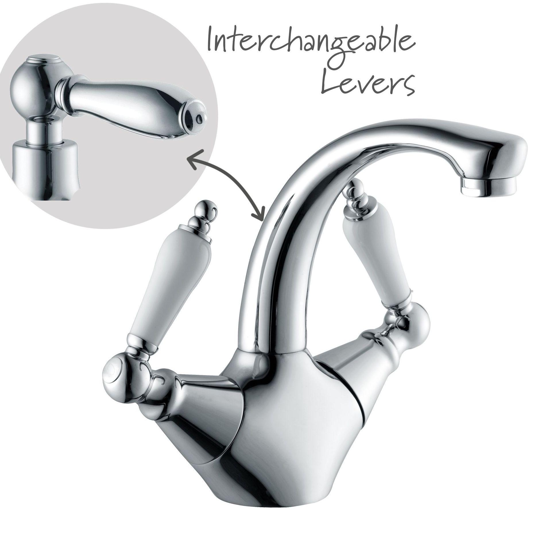 cooke lewis timeless 2 lever basin mixer tap. Black Bedroom Furniture Sets. Home Design Ideas