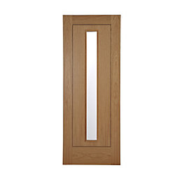 Flush 1 Panel Oak Veneer Glazed Internal Door,