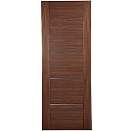 Flush 5 Panel Walnut Veneer Internal Fire Door,