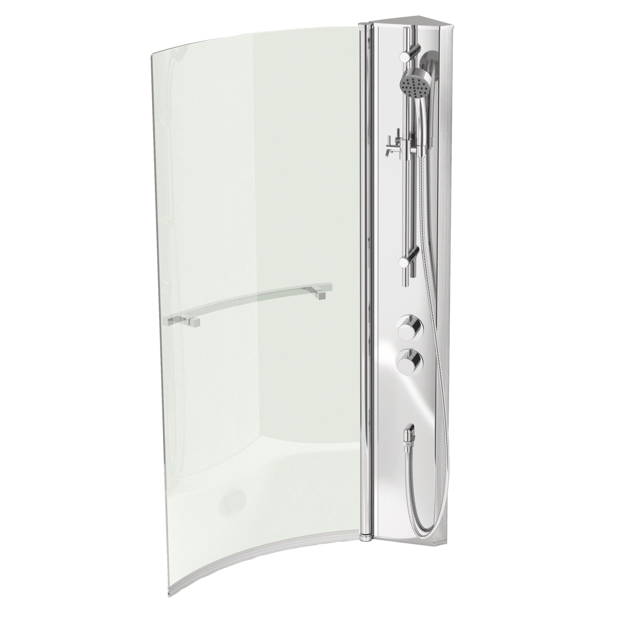 cooke lewis adelphi lh acrylic curved shower bath l 1675mm w cooke lewis adelphi lh shower column
