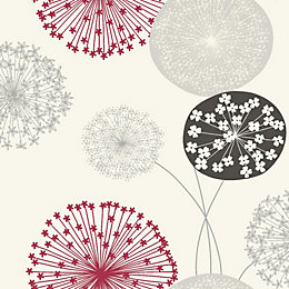 B&Q Lucienne Grey & Red Floral Wallpaper
