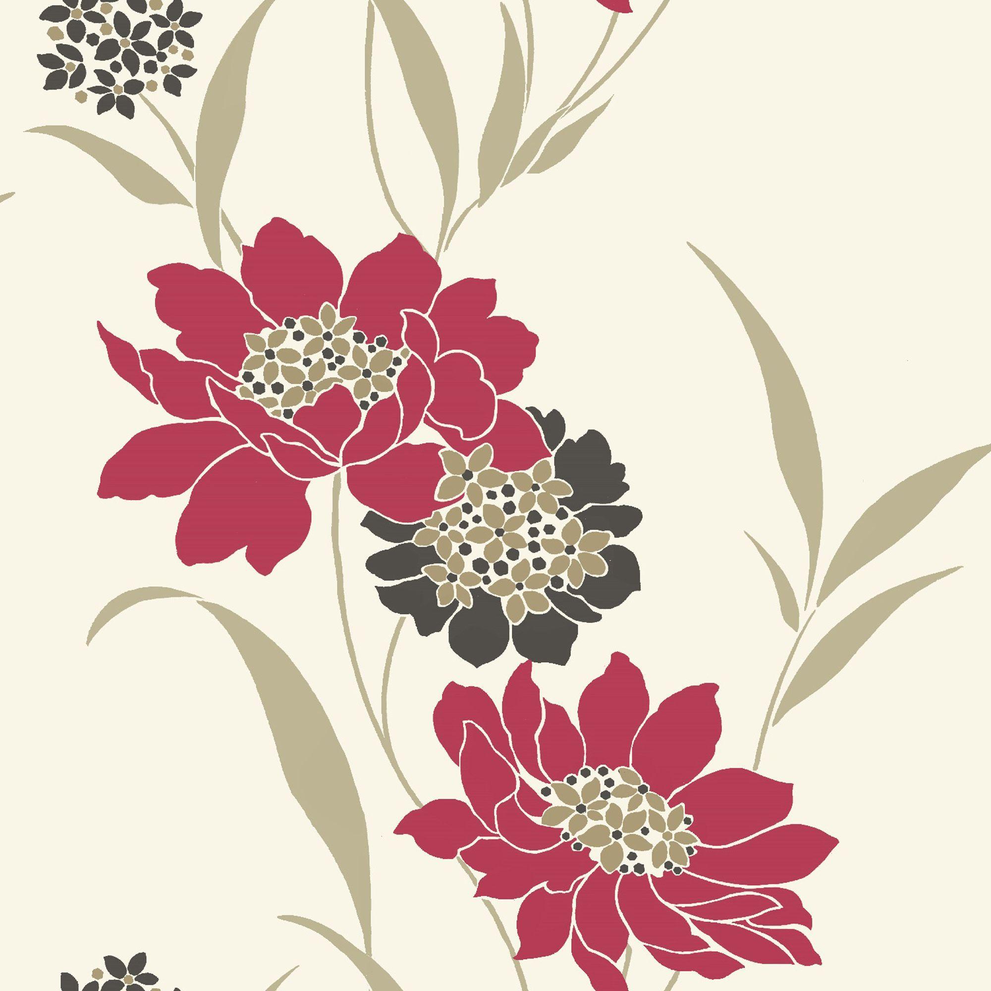 B&q Amala Cream & Red Floral Wallpaper