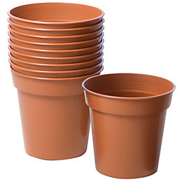 Plastic Terracotta Plant Pot (Dia)7.6cm, Pack of 10