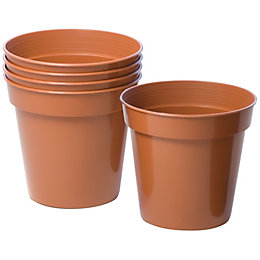 Plastic Terracotta Plant Pot (Dia)10cm, Pack of 5