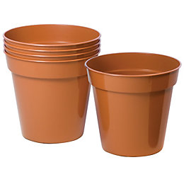 Plastic Terracotta Plant Pot (Dia)127mm, Pack of 5