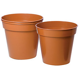 Plastic Terracotta Plant Pot (Dia)15cm, Pack of 5