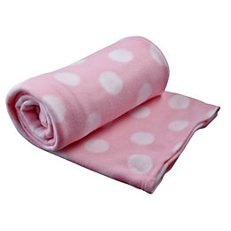 Pink & White Spotted Fleece Blanket