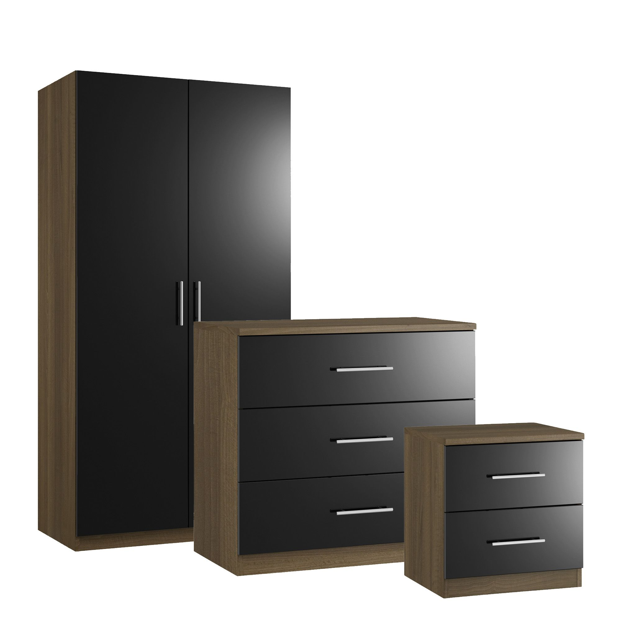 Darwin modern black walnut effect 3 piece bedroom for B q bedroom furniture sets