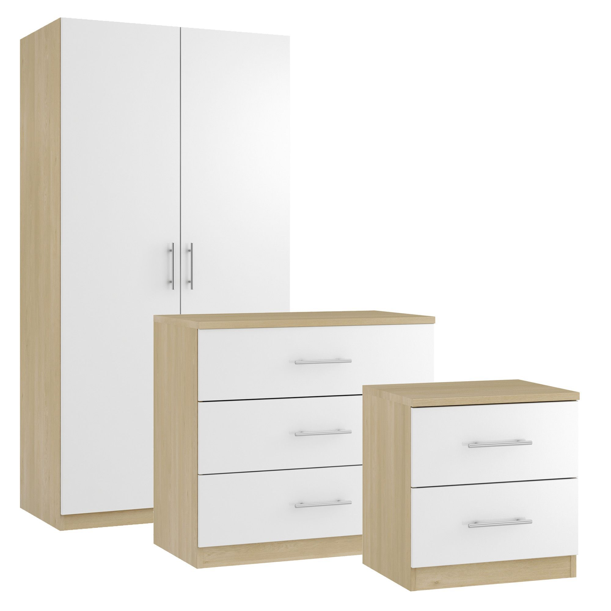 Darwin oak effect white 3 piece bedroom furniture set for B q bedroom furniture sets