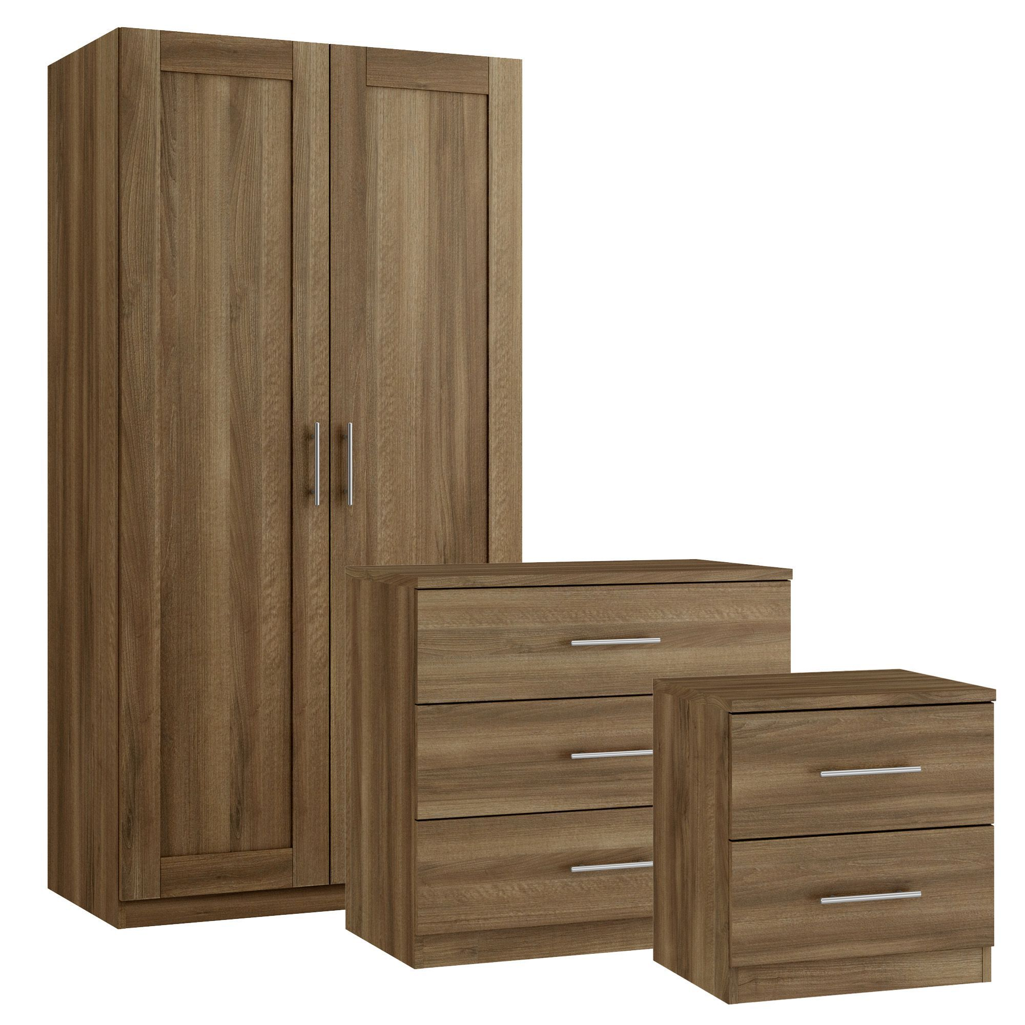 Darwin walnut effect 3 piece bedroom furniture set for B q bedroom furniture sets