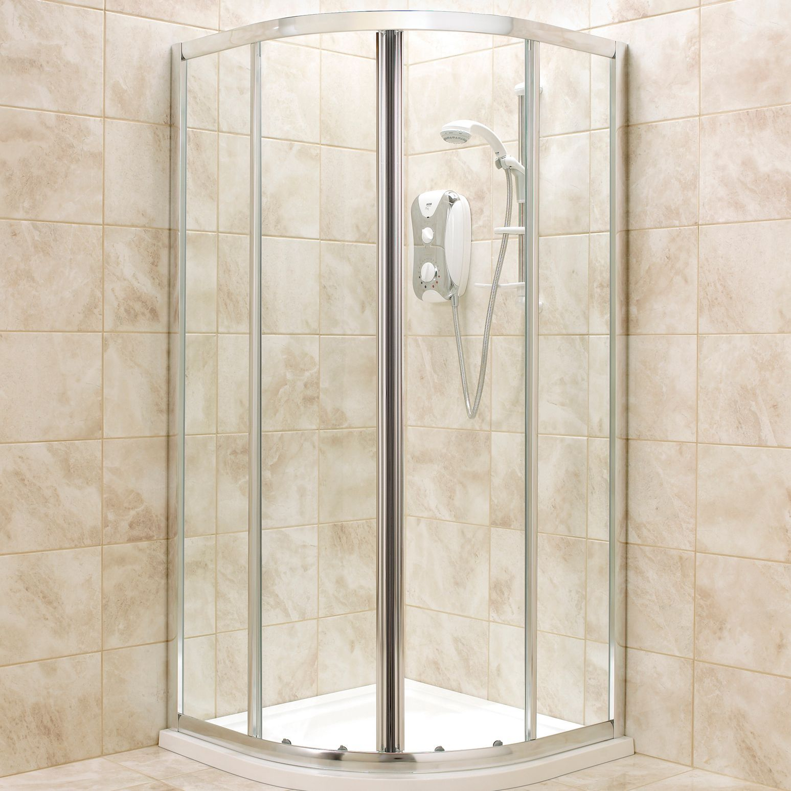 U shaped shower curtain rail b and q - B Q Quadrant Shower Enclosure Tray Waste Pack With Double Sliding Doors W 800mm D 800mm Departments Diy At B Q