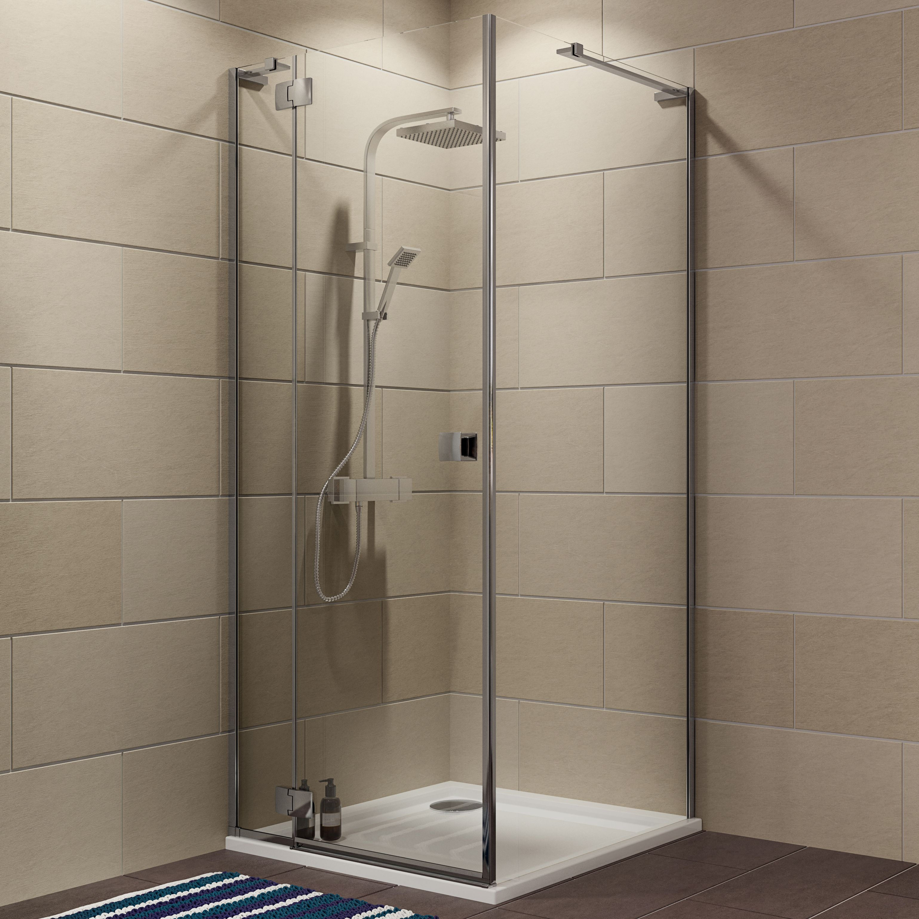 Cooke & Lewis Luxuriant Square Shower Enclosure, Tray & Waste Pack With Hinged Door (w)800mm (d)800mm