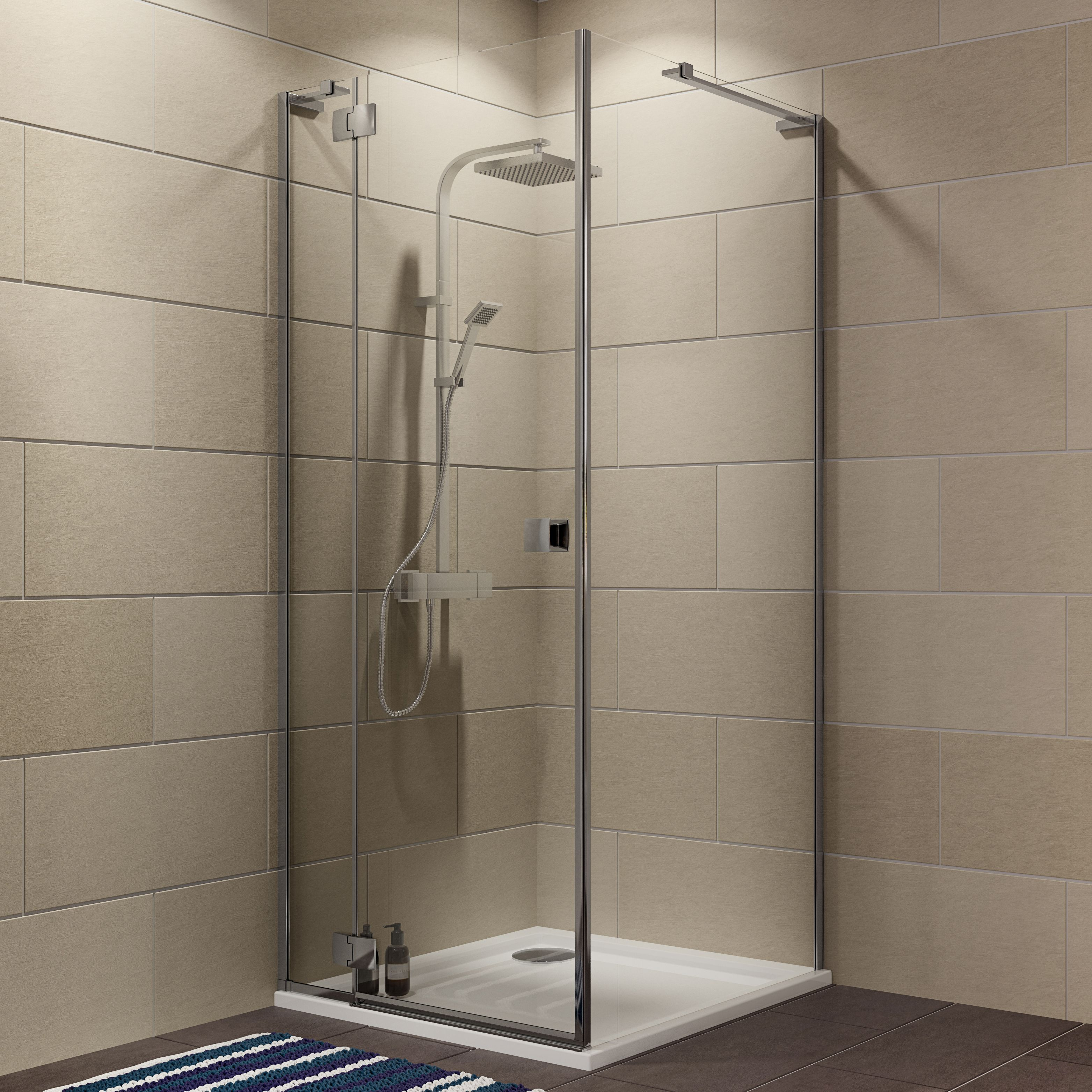 Cooke & Lewis Luxuriant Square Shower Enclosure, Tray & Waste Pack With Hinged Door (w)900mm (d)900mm