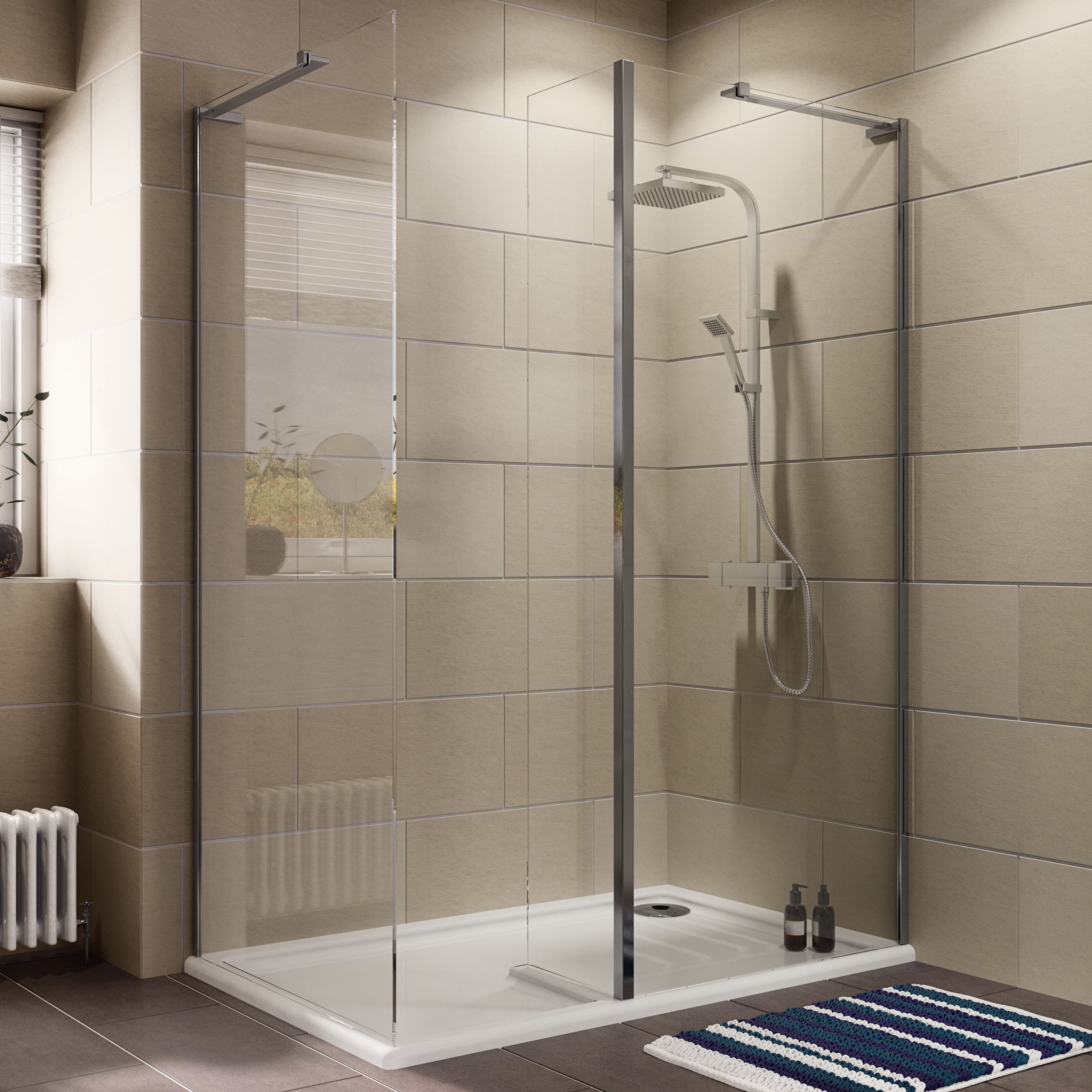 Cooke & Lewis Luxuriant Rectangular Rh Shower Enclosure, Tray & Waste Pack With Walk-in Entry (w)1400mm (d)880mm