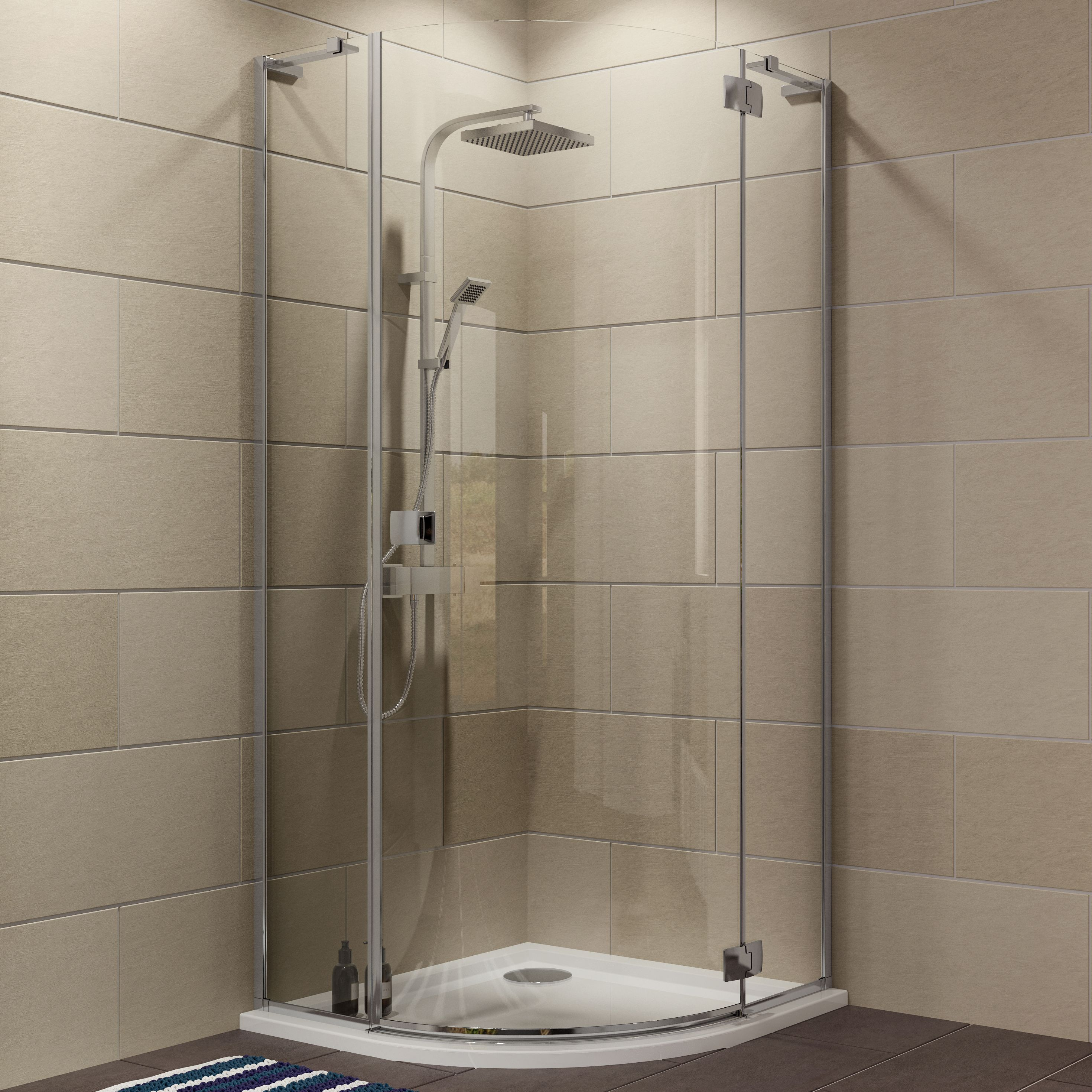 Cooke & Lewis Luxuriant Quadrant Shower Enclosure, Tray & Waste Pack With Hinged Door (w)900mm (d)900mm
