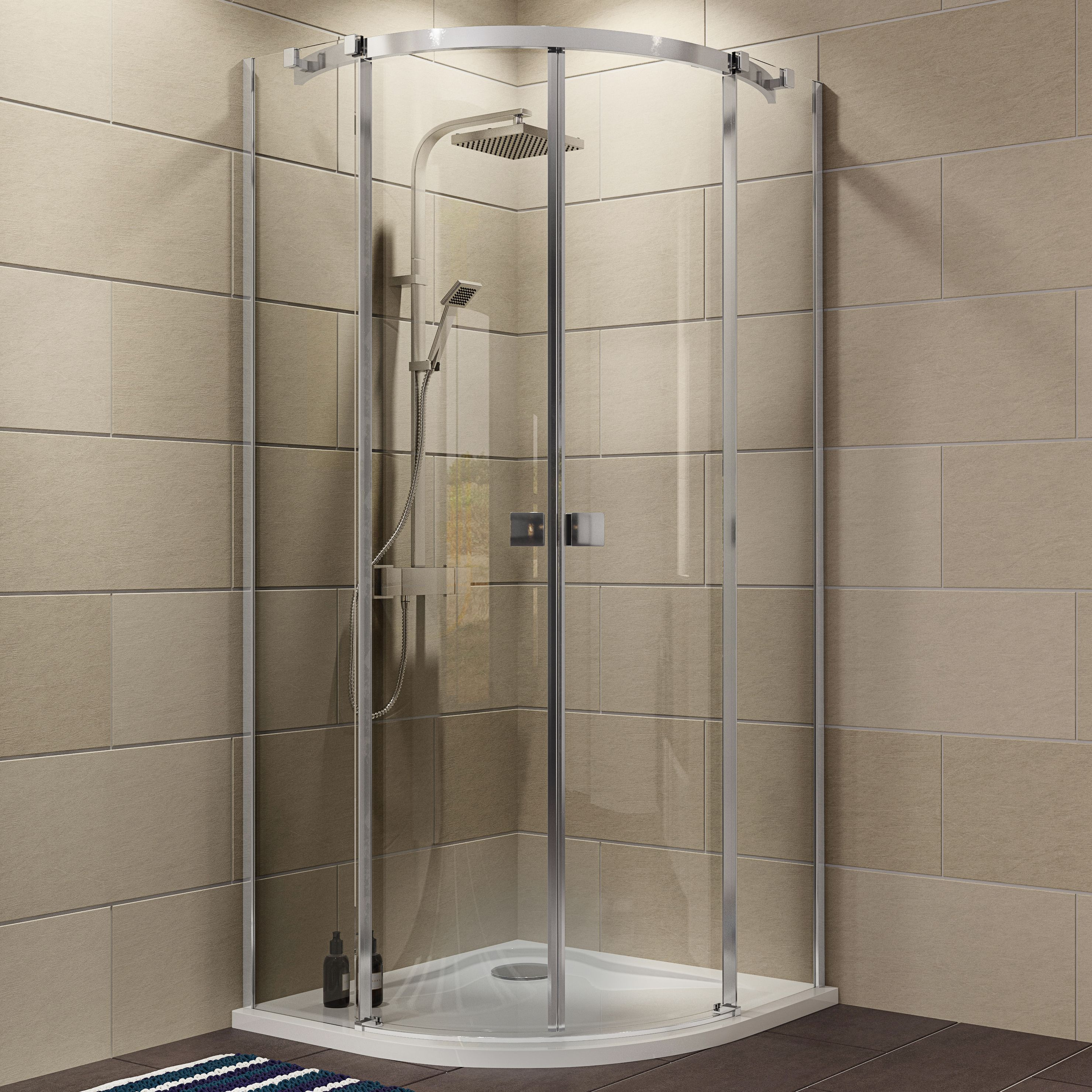 Cooke & Lewis Luxuriant Quadrant Shower Enclosure, Tray & Waste Pack With Double Sliding Doors (w)900mm (d)900mm