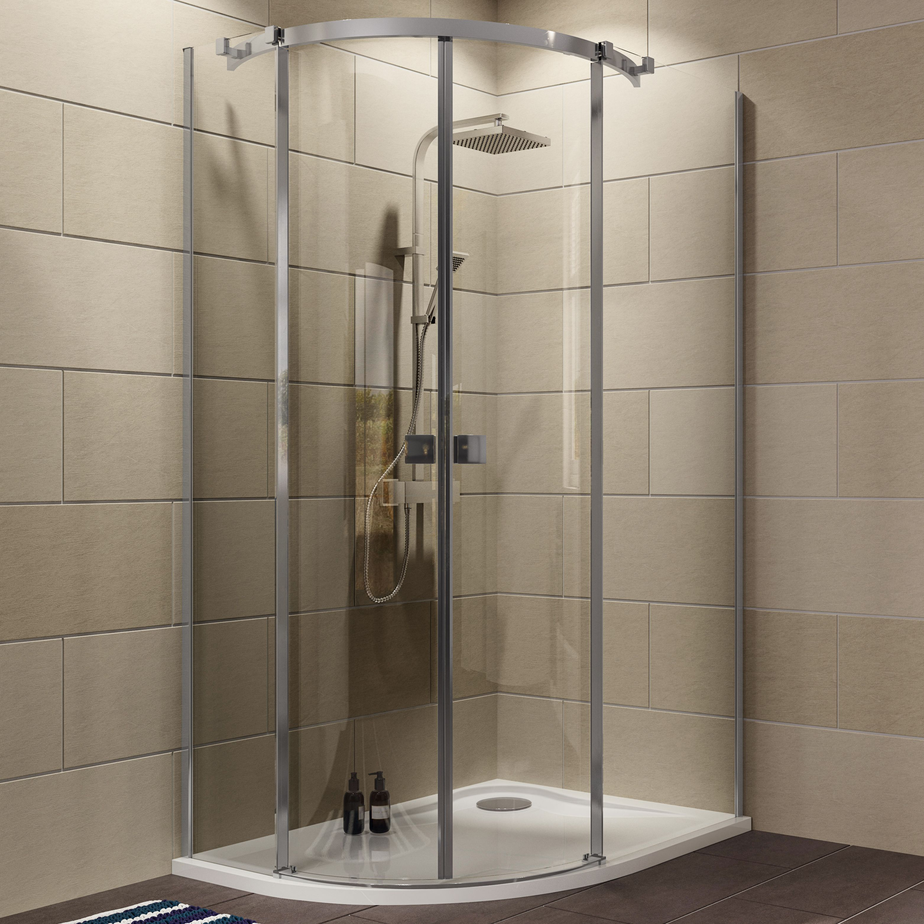 Cooke & Lewis Luxuriant Offset Quadrant Rh Shower Enclosure, Tray & Waste Pack With Double Sliding Doors (w)1200mm (d)90