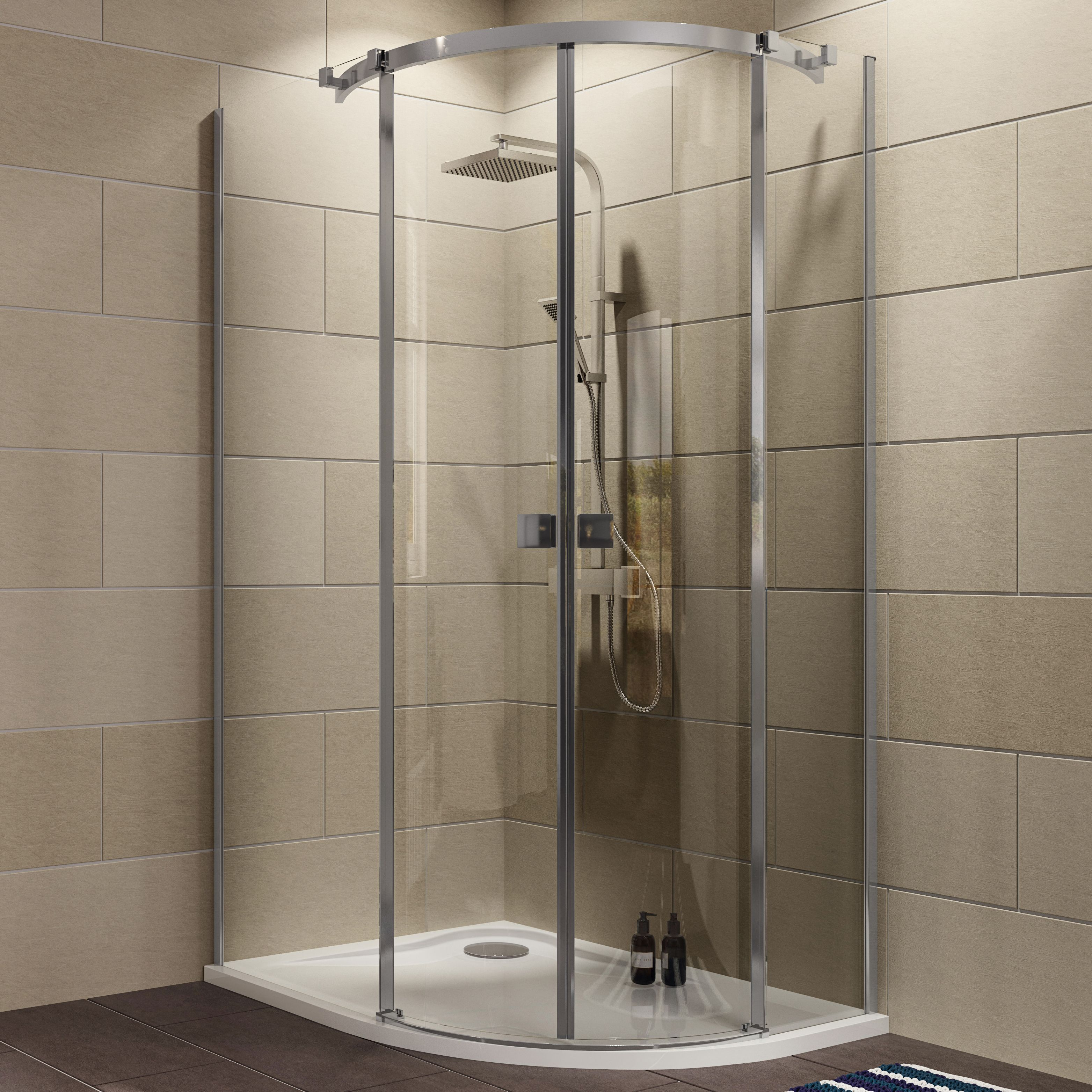 Cooke & Lewis Luxuriant Offset Quadrant Lh Shower Enclosure, Tray & Waste Pack With Double Sliding Doors (w)1200mm (d)90