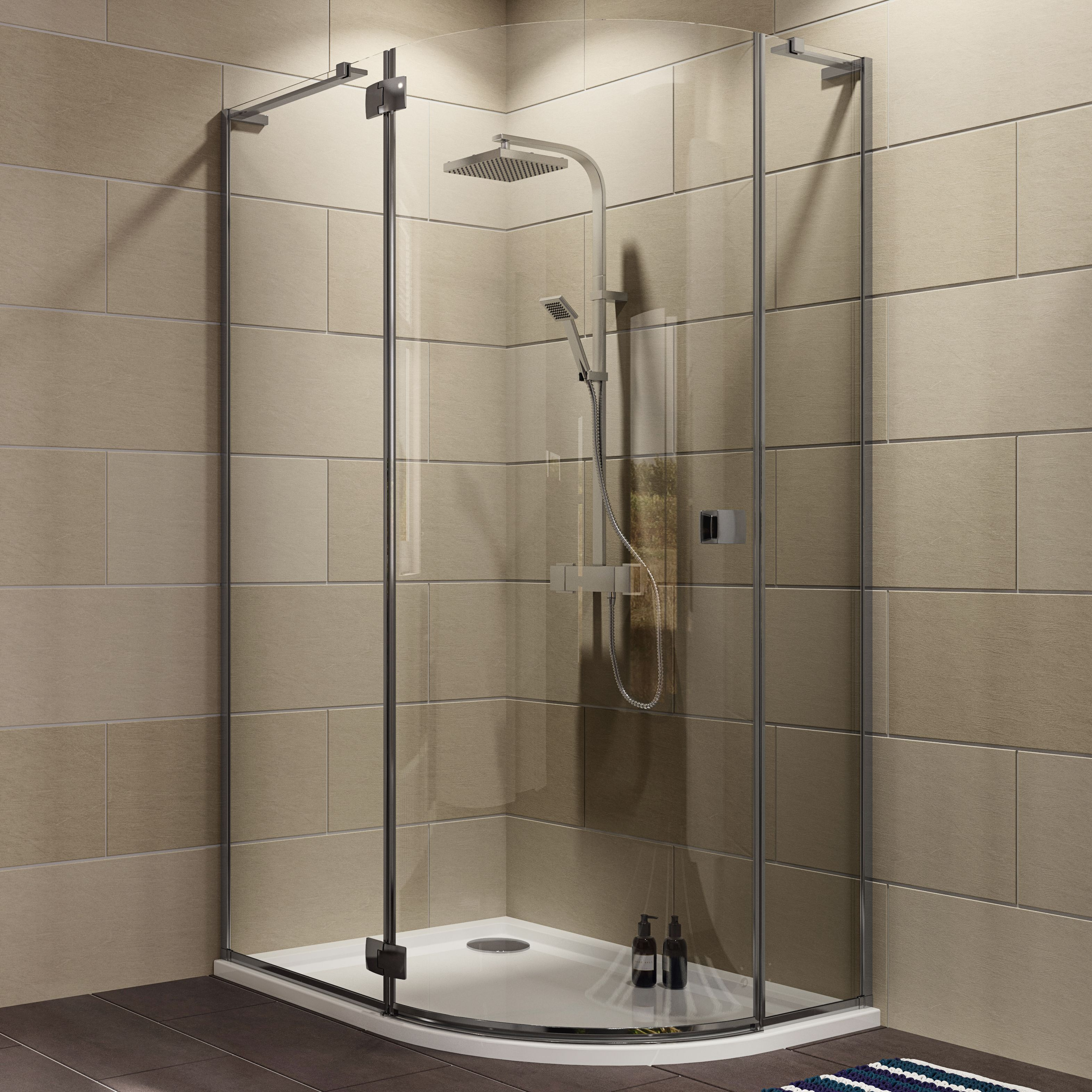 Cooke & Lewis Luxuriant Offset Quadrant Lh Shower Enclosure, Tray & Waste Pack With Hinged Door (w)1200mm (d)900mm