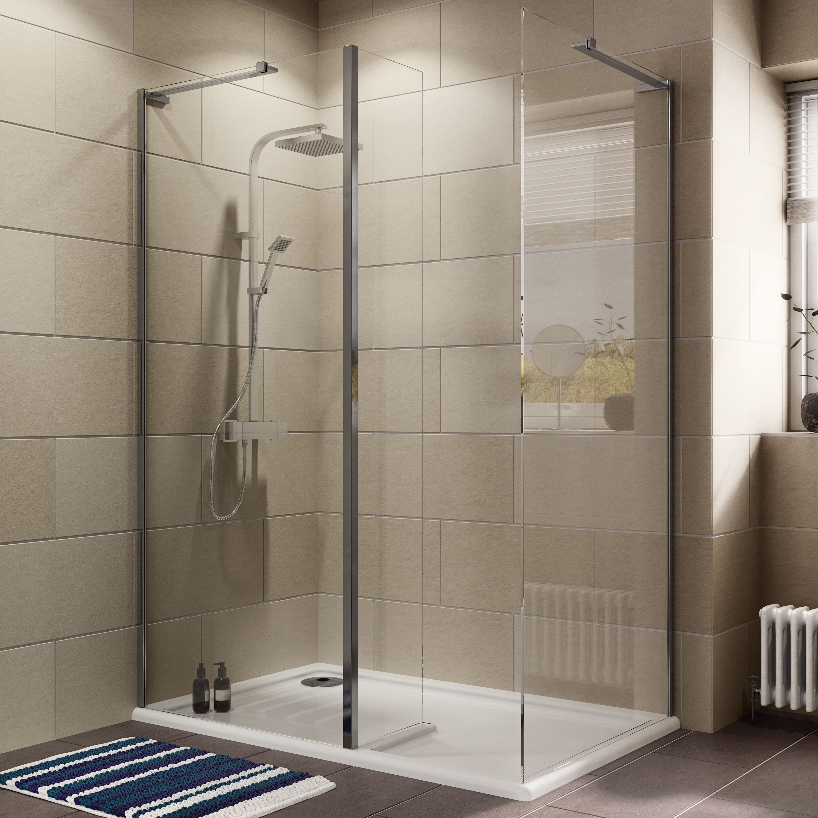 Cooke & Lewis Luxuriant Rectangular Lh Shower Enclosure, Tray & Waste Pack With Walk-in Entry (w)1400mm (d)880mm