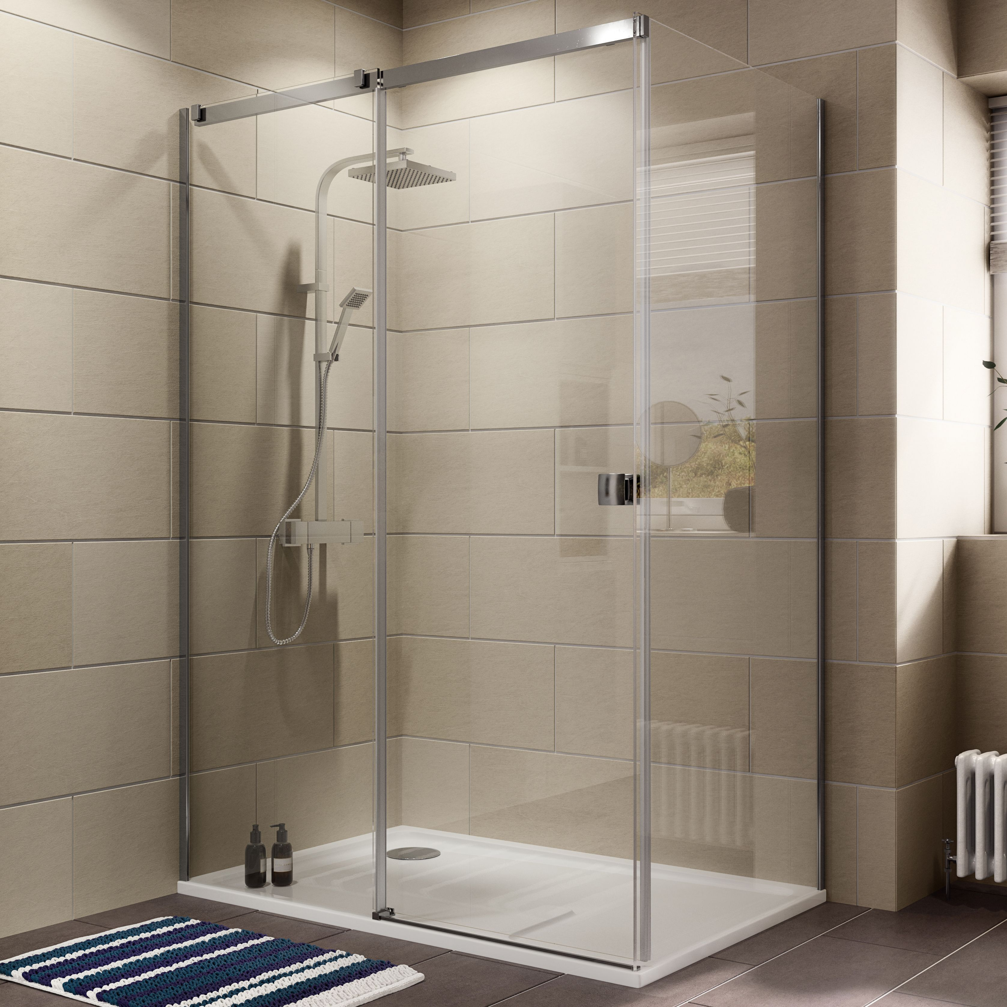 Cooke & Lewis Luxuriant Rectangular Lh Shower Enclosure, Tray & Waste Pack With Single Sliding Door (w)1400mm (d)900mm