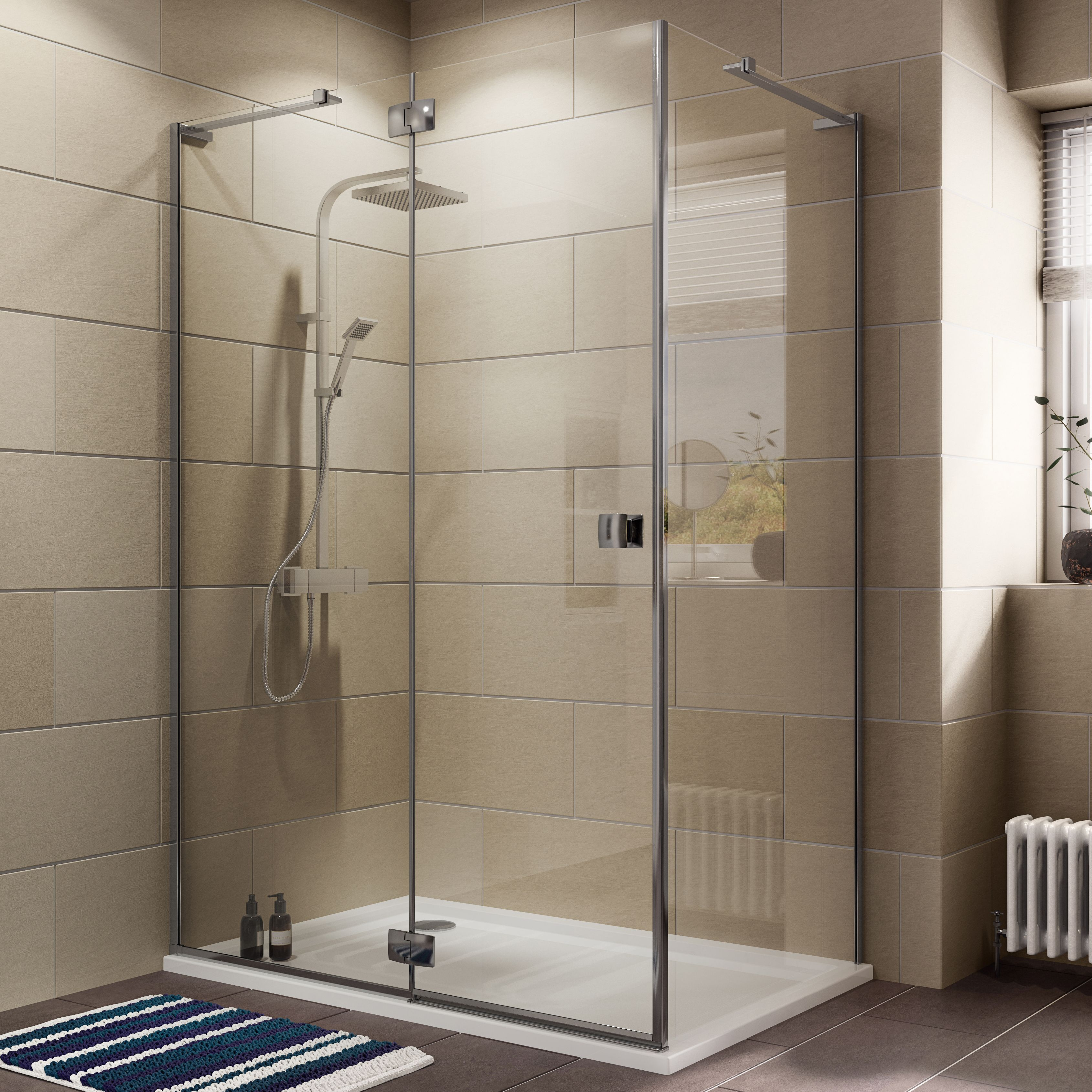 Cooke & Lewis Luxuriant Rectangular Lh Shower Enclosure, Tray & Waste Pack With Hinged Door (w)1400mm (d)900mm