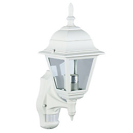 Polperro White 60W Mains Powered External Pir Lantern