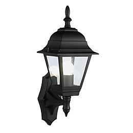 B&Q Penarven Black Mains Powered External Wall Lantern