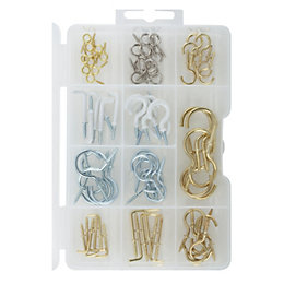 B&Q Gold, Silver & White Assorted Hook Set