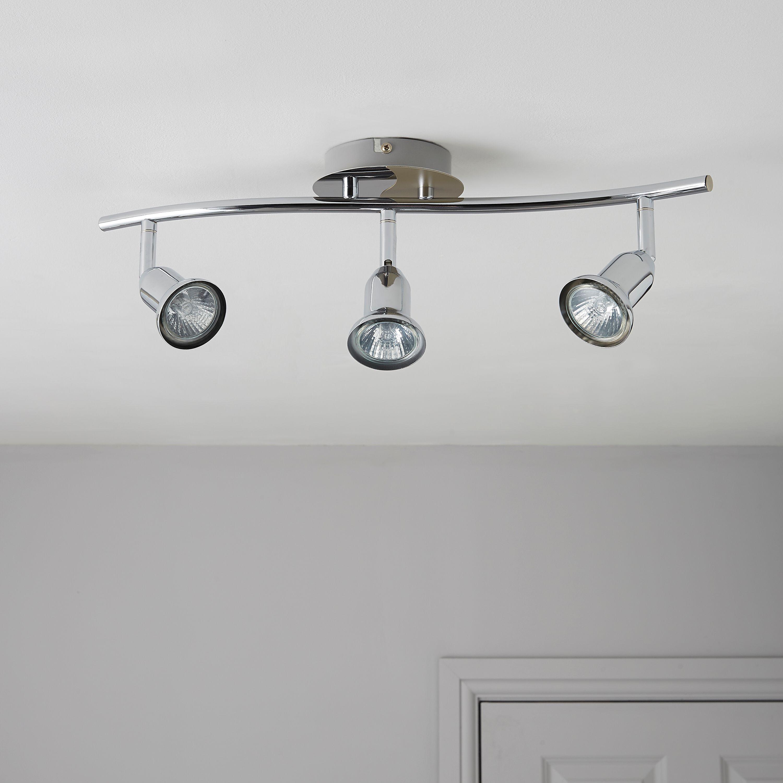 Zorbo Chrome & Titanium Effect 3 Lamp Bar Spotlight