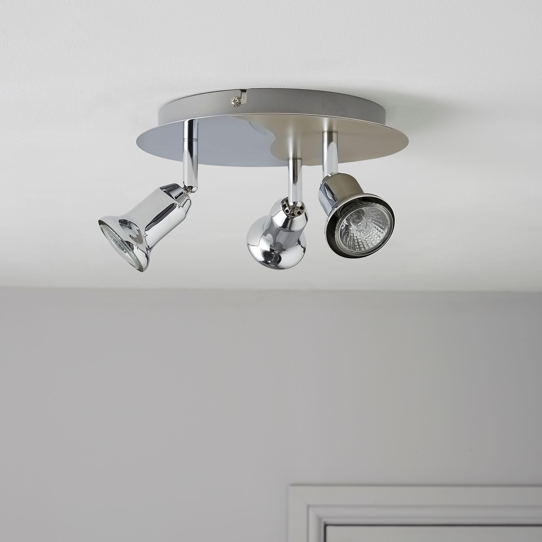 Zorbo Chrome & Titanium Effect 3 Lamp Round Spotlight