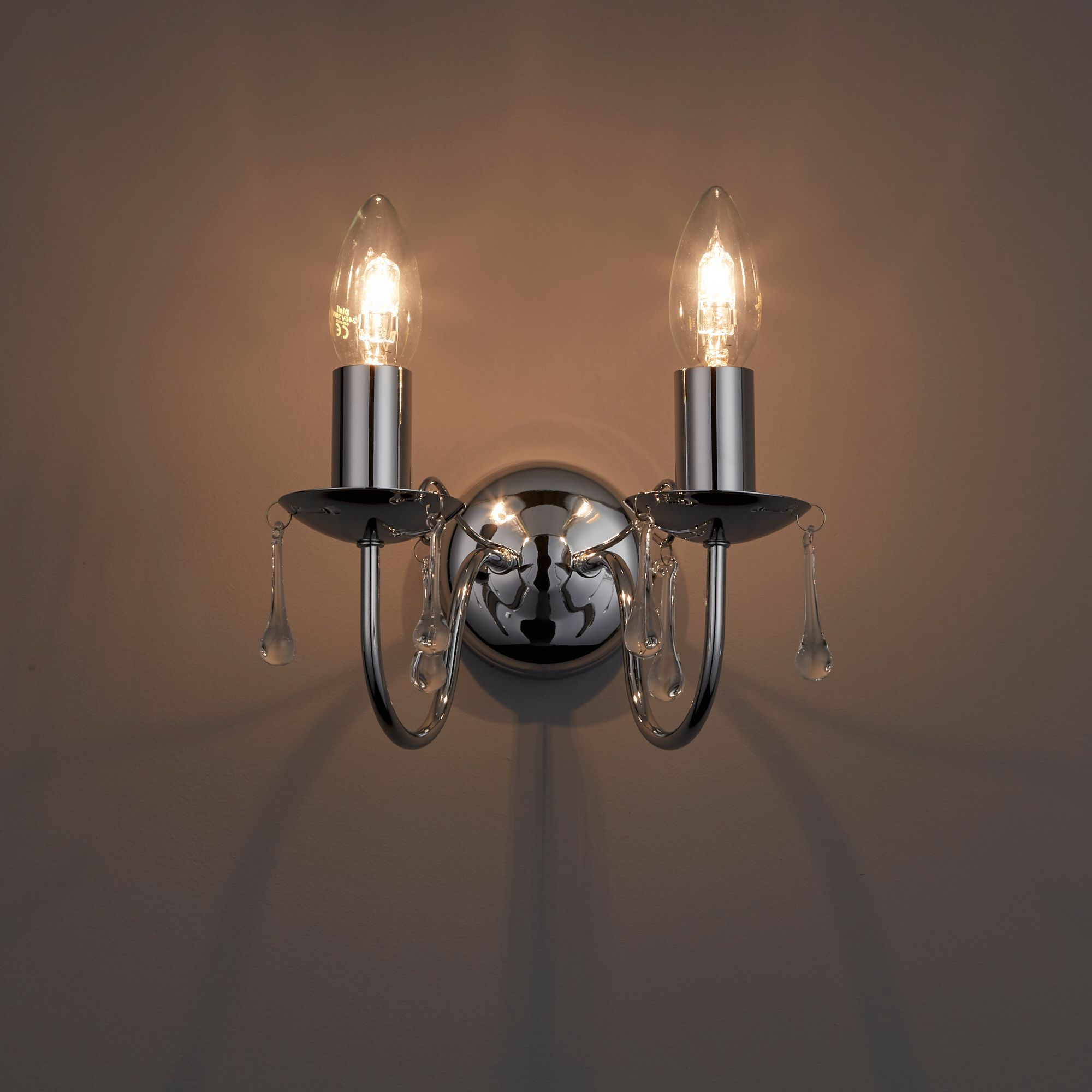 Albany Candle Chrome Effect Double Wall Light