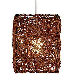 Bali Brown Rattan Light Shade (D)16cm