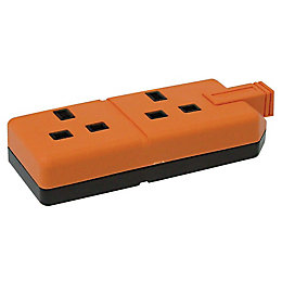 B&Q 13A 2-Gang Orange Unswitched Trailing Socket