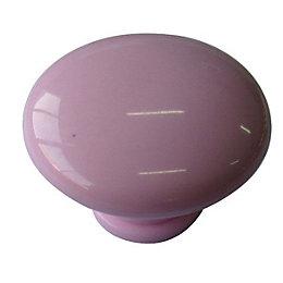 B&Q Pale Pink Round Mushroom Knob, Pack of