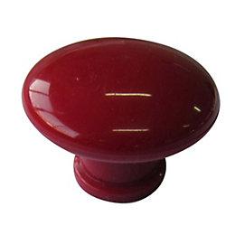 B&Q Red Round Mushroom Knob, Pack of 10