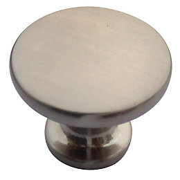 B&Q Satin Nickel Effect Round Furniture Knob, Pack