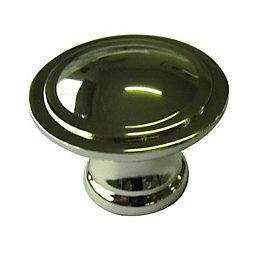 B&Q Polished Brass Effect Round Furniture Knob, Pack