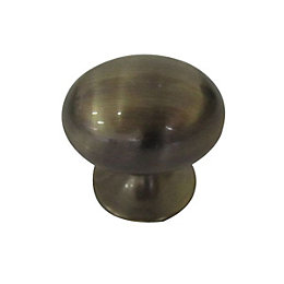 B&Q Antique Brass Effect Oval Furniture Knob, Pack