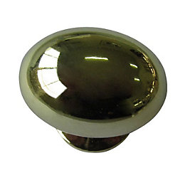 B&Q Polished Brass Effect Oval Furniture Knob, Pack