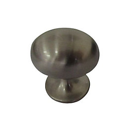 B&Q Satin Nickel Effect Oval Furniture Knob, Pack