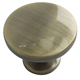 B&Q Antique Brass Effect Round Furniture Knob, Pack