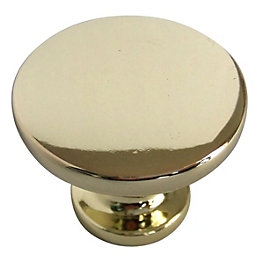 B&Q Polished Brass Effect Round Furniture Knob, Pack
