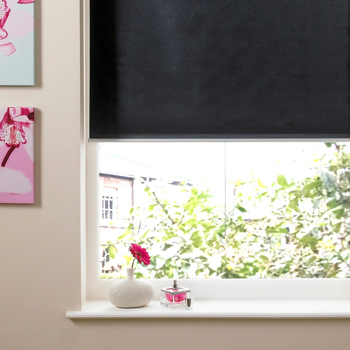Colours Pali Cordless Black Roller Blind (L)160cm (W)90cm