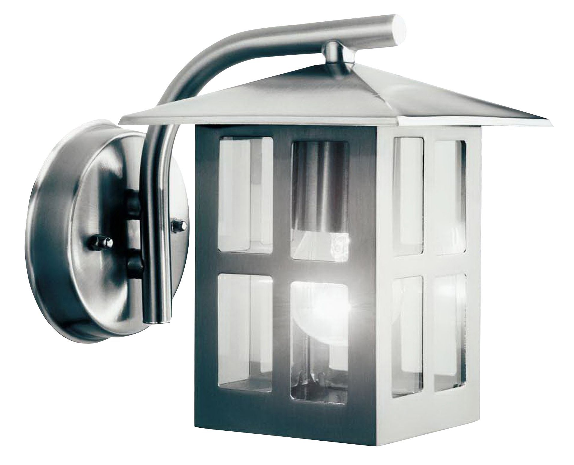 Wall Lamps External : Mains Powered External WALL LANTERN Glass Stainless Steel Porch Garden Lighting eBay