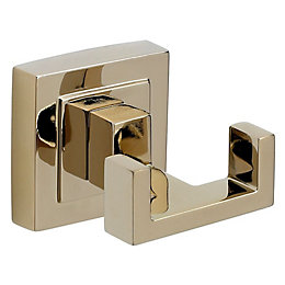 B&Q Gold Effect Zinc Alloy Double Robe Hook